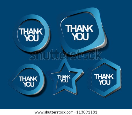 set of thanks you labels sticker, vector - stock vector