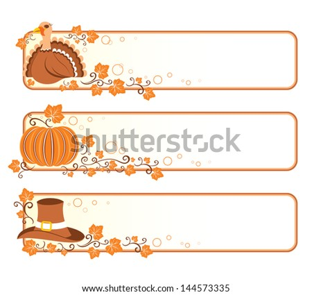 Set of Thanksgiving banners. - stock vector