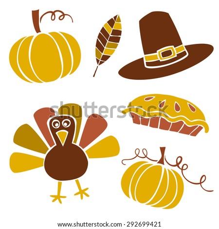 Set of thanksgiving vector illustrations - stock vector