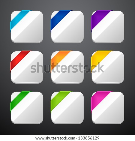 Set of the app icons with ribbons. - stock vector