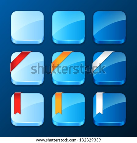 Set of the app icons with ribbons and banners. - stock vector
