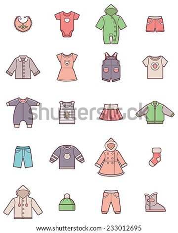 Set of the baby clothes icons - stock vector