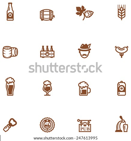 Set of the beer  related icon - stock vector