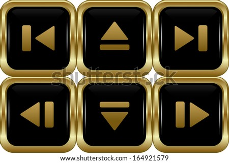 Set of the black gold switch buttons. Abstract vector illustration. - stock vector