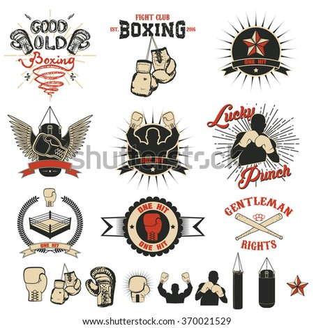 Set of the boxing club labels, emblems and design elements.  Design elements for logo, label, emblem,  insignia, sign, identity, logotype, poster. Boxing club - stock vector