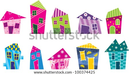 Set of the bright, painted cartoon houses. vector - stock vector