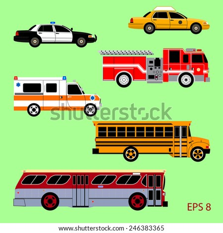 Set of the car icons in vector. Taxi, police car, fire truck, ambulance, school bus, city bus