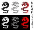 Set of the Chinese dragons - stock vector