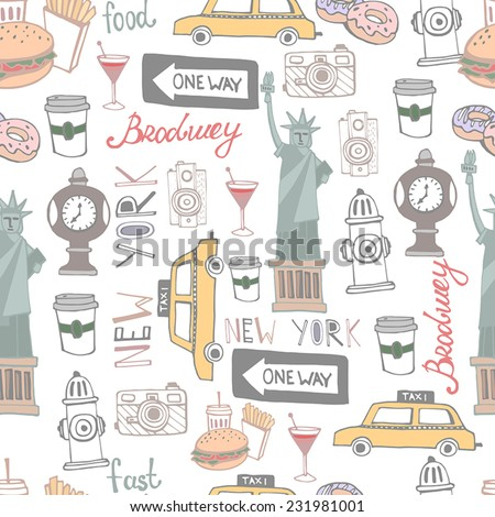 Set of the City New York. City background pattern.  - stock vector