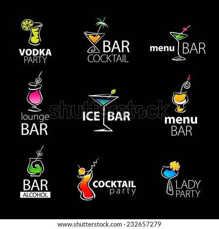 Set of the cocktail bar icons on a black background. Vector illustration.