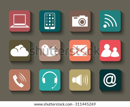 Set of the colorful media icons for your personal creative design. Global, social, network elements. Symbols and signs for internet communication. Vector illustration.