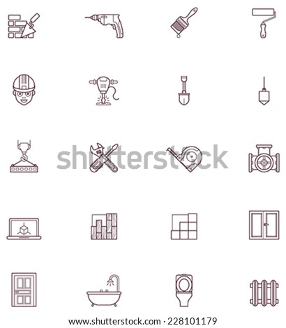 Set of the construction and renovation related icons - stock vector