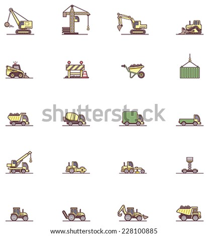 Set of the construction machinery related icons - stock vector