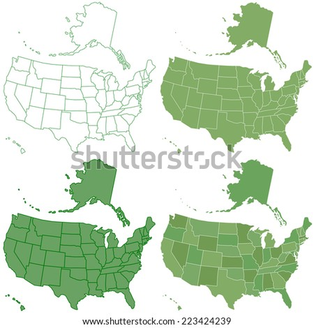 Set of the contour USA maps. All objects are independent and fully editable  - stock vector