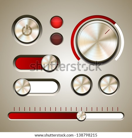 Set of the detailed UI elements with knob, switches and slider in metallic style. Vector illustration - stock vector