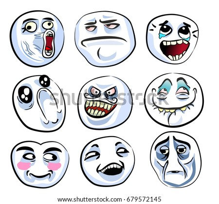 stock vector set of the different crazy faces internet memes for your design of avatars internet communication 679572145 meme stock images, royalty free images & vectors shutterstock