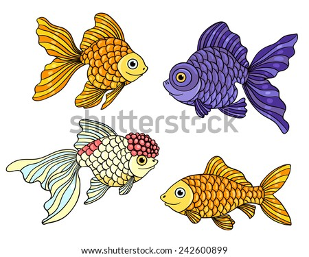 Set of the different goldfishes. Vector illustration. Isolated on white. - stock vector