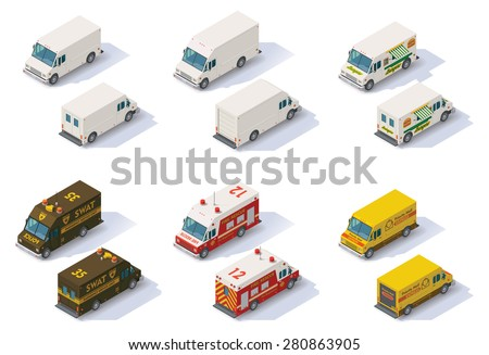 Set of the different types of isometric step vans, front end rear view - stock vector