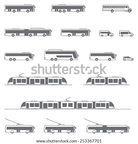 Set of the different types of public transport vehicles  - stock vector