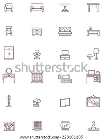 Set of the Domestic furniture related icons - stock vector