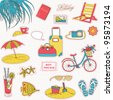 Set of the doodle sketches. Vacations travel icons. - stock vector