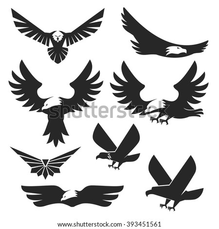 Set of the eagles icons and logo templates. Flying eagle. - stock vector