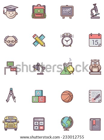 Set of the education related icons - stock vector