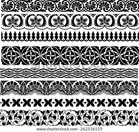 set of the eight ornamental border for your design. Vector illustration black on the white background - stock vector