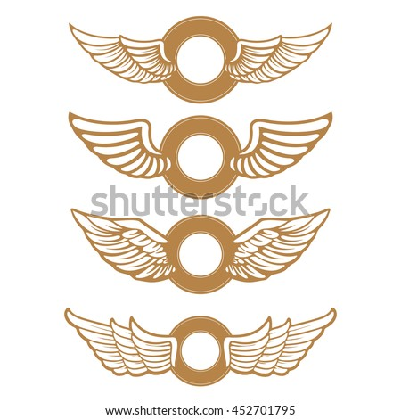 Set of the emblems with wings in gold style isolated on white background. Design element for logo, label, emblem, sign, badge. Vector illustration. - stock vector