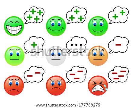Set of the emoticons icon of thinking concept - stock vector