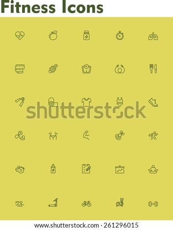 Set of the fitness and sport related icons  - stock vector