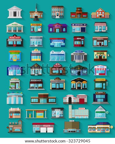 Set of the flat city buildings and shops. Vector EPS10 illustration.  - stock vector