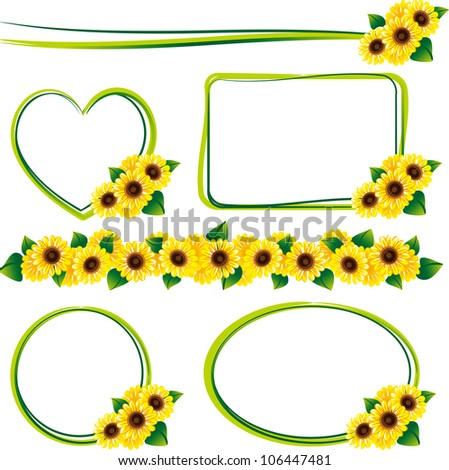 set of the frame of the sunflower - Sunflower Picture Frames