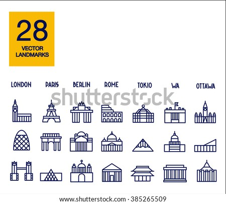 Set of the global landmarks and travel destinations - stock vector