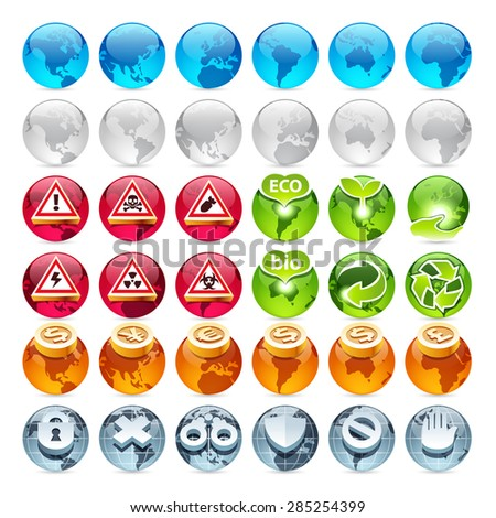 Set of the Globe Icons. Isolated on white background. - stock vector