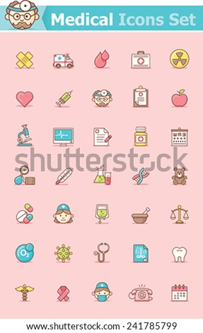 Set of the health care related icons - stock vector