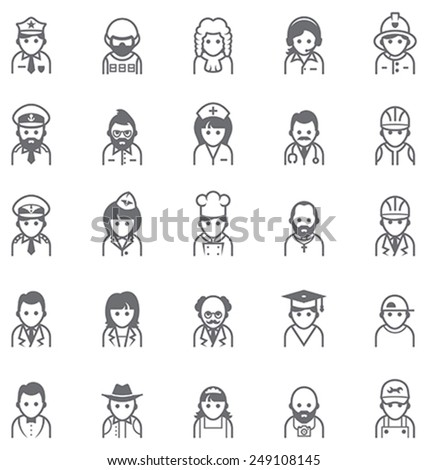Set of the icons representing different people - stock vector