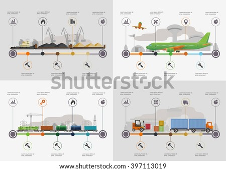 Set of the infoghrphic elements. Transportation by water, by air, by train. Flat illustration. - stock vector