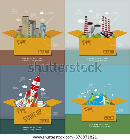 Set of the infographic concepts with boxes. Flat vector design. - stock vector
