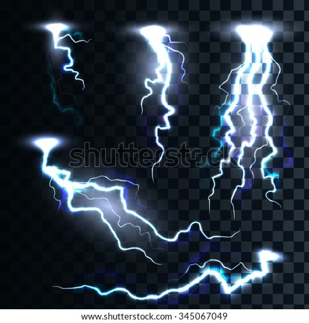Set of the isolated realistic lightnings with transparency for design.  Magic and bright lighting natural effects Thunder-storm - stock vector