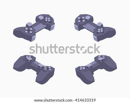 Set of the isometric black gamepads. The objects are isolated against the white background and shown from different sides - stock vector