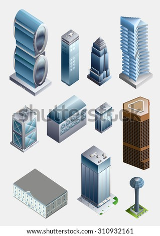 Set of the isometric city buildings. office, apartment, pool - stock vector
