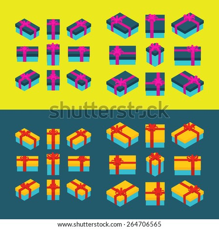 Set of the isometric colored gift boxes. The objects are isolated and shown from different sides  - stock vector
