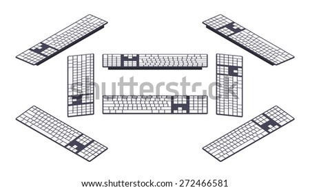 Set of the isometric computer keyboards. The objects are isolated against the white background and shown from different sides - stock vector
