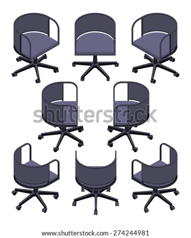 Set of the isometric office spinning chairs. The objects are isolated against the white background and shown from different sides - stock vector