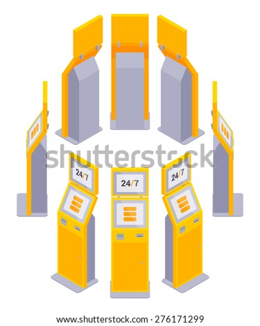 Set of the isometric payment terminals. The objects are isolated against the white background and shown from different sides - stock vector