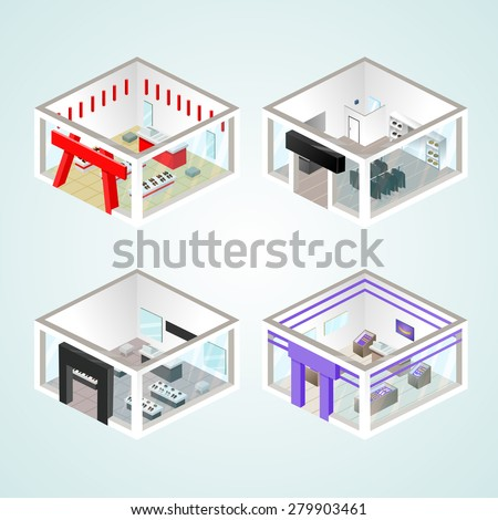 Set of the isometric shops and other elements (Clothing, Jewelry, Shoes). Vector illustration. - stock vector