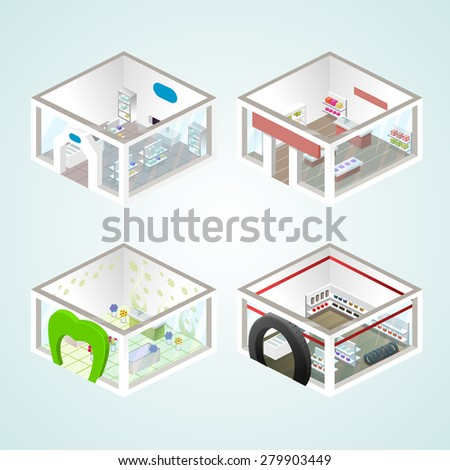 Set of the isometric shops and other elements (Gifts, Flowers, Auto products). Vector illustration. - stock vector