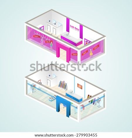 Set of the isometric shops and other elements (Women's Clothing, Sporting Goods). Vector illustration. - stock vector