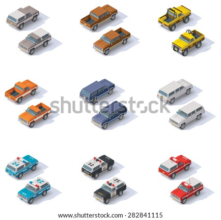 Set of the isometric SUVS and pickups - stock vector